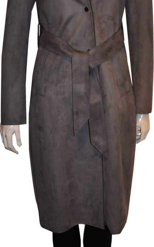 grey ultra suede trench coat- front