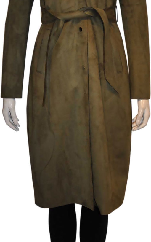 olive green ultra suede trench coat- front