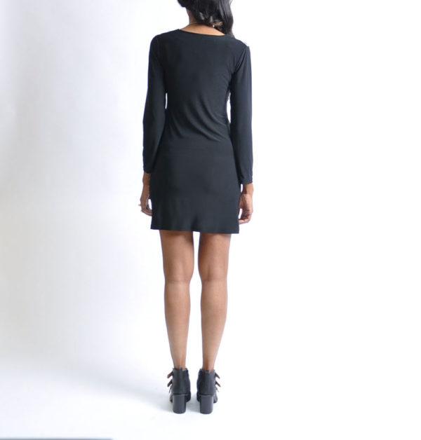 black cheetah print zip front tunic dress- back