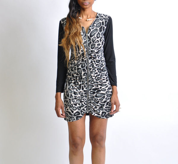 black cheetah print zip front tunic dress- front