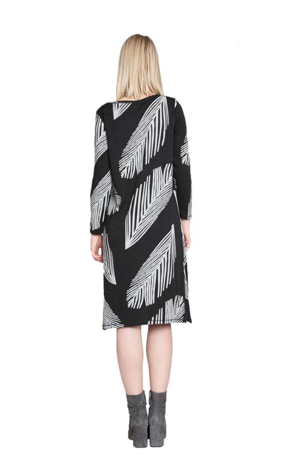 black and white printed midi dress- back