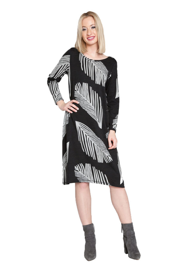 black and white printed midi dress- front