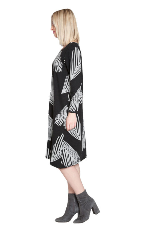 black and white printed midi dress- side