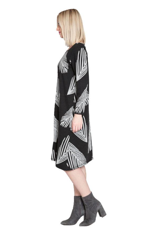 black and white printed midi dress- side