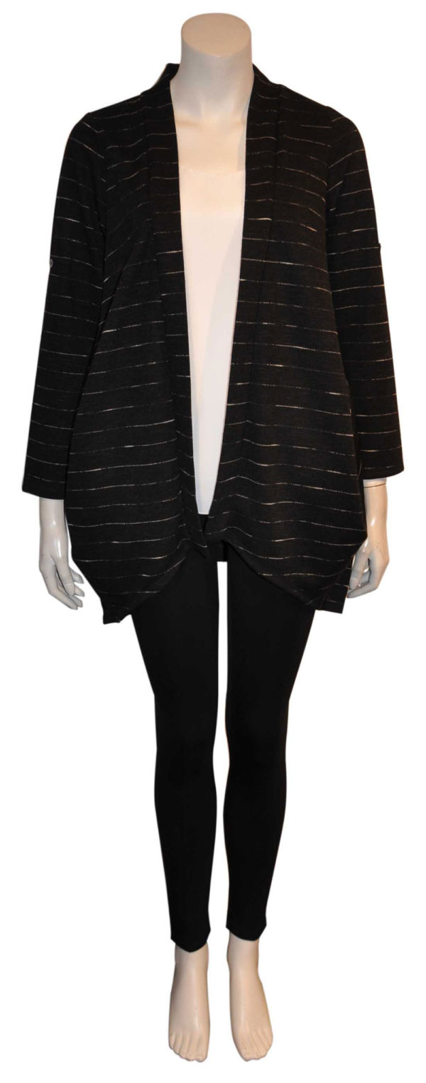 black open cardigan sweater- front