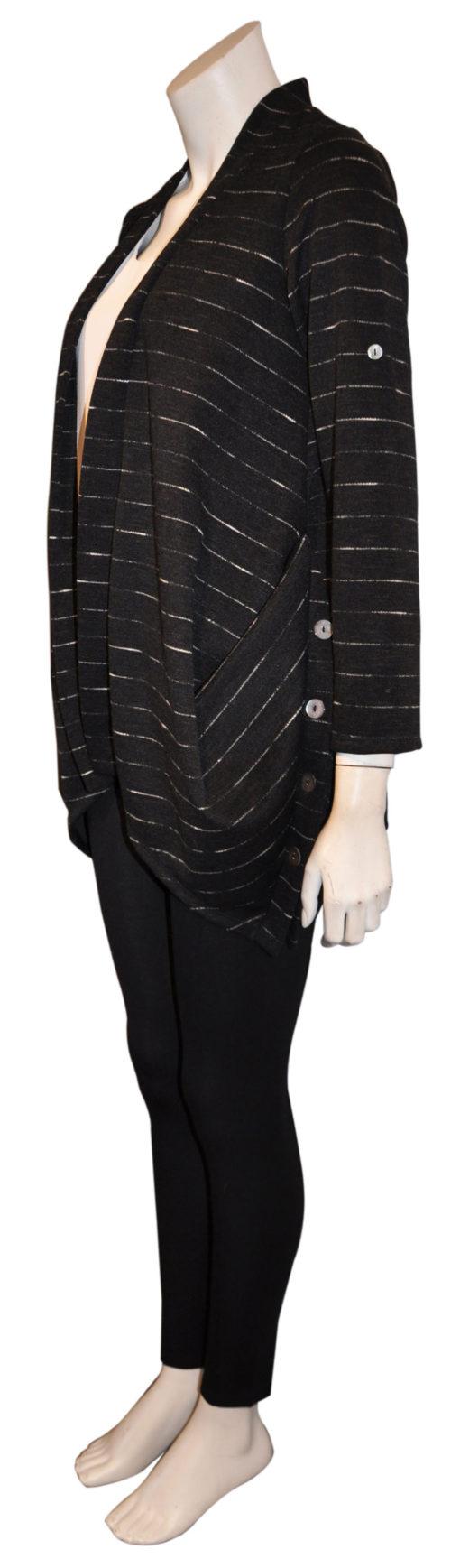 black open cardigan sweater- side