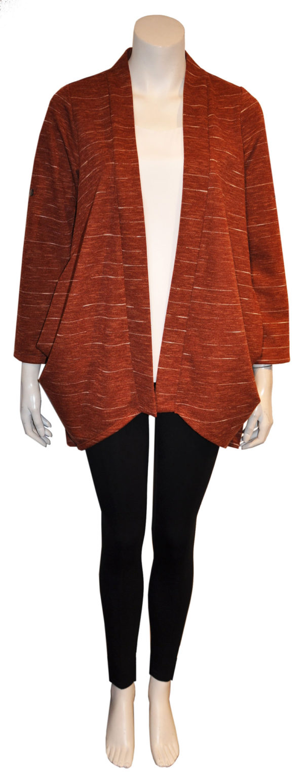rust orange open cardigan sweater with buttons- front