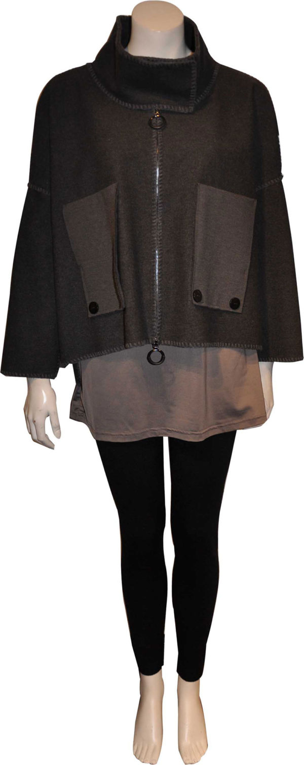 charcoal grey patch detail cropped jacket- front