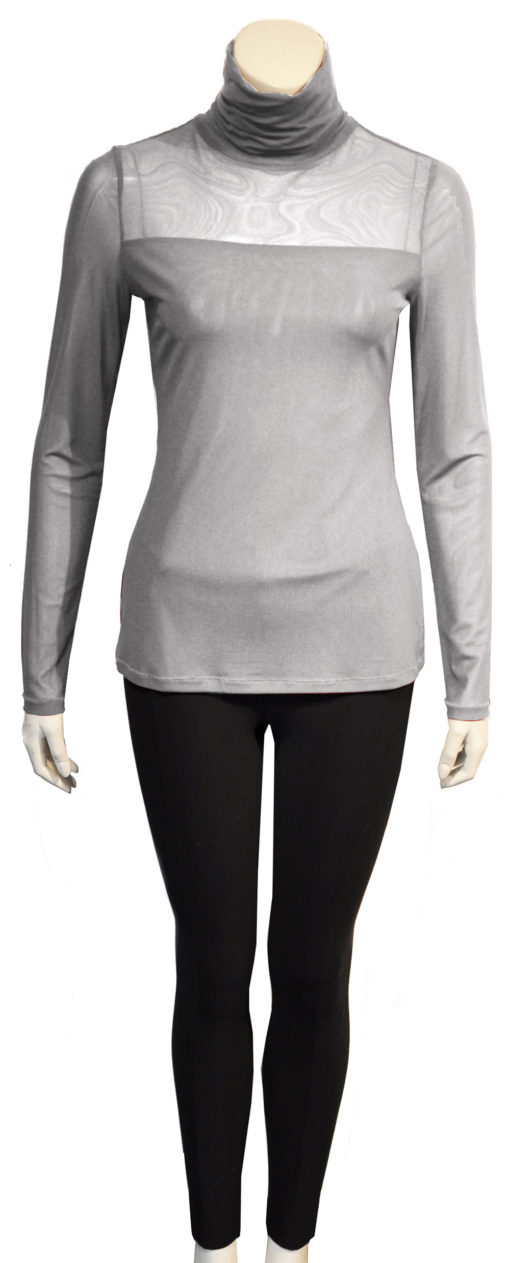 grey mesh turtleneck top- front