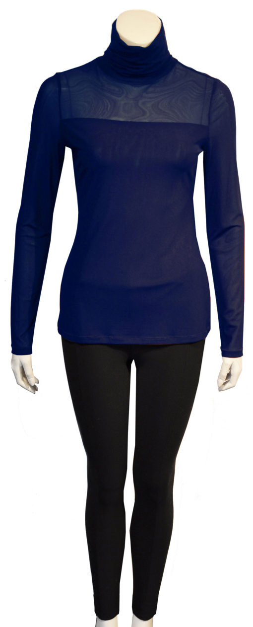 navy mesh turtleneck top- front