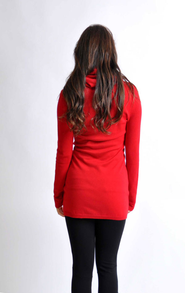 red cowl knit sweater- back