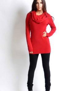 red cowl neck knit sweater- front