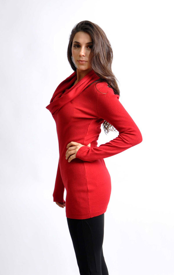 red cowl neck knit sweater- side