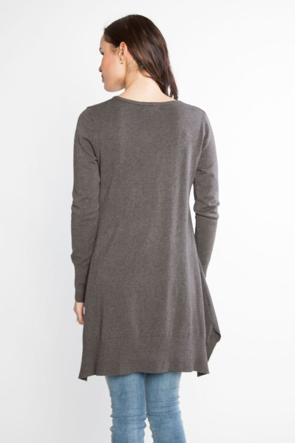 grey knit sweater- back