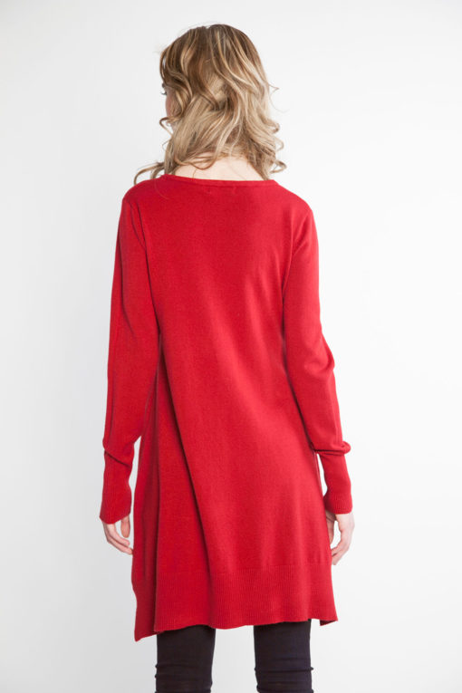 red knit sweater- back