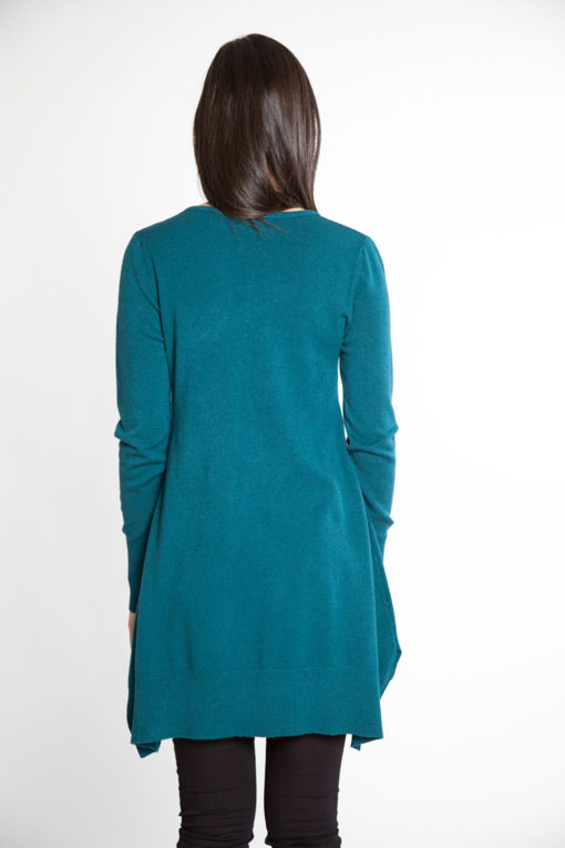 teal knit sweater- back
