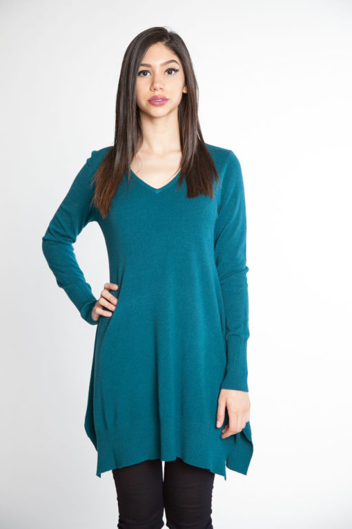 teal knit sweater- front