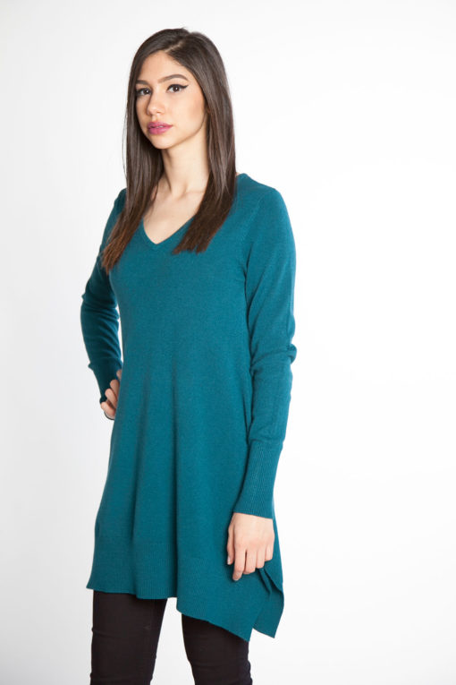 teal knit sweater- side