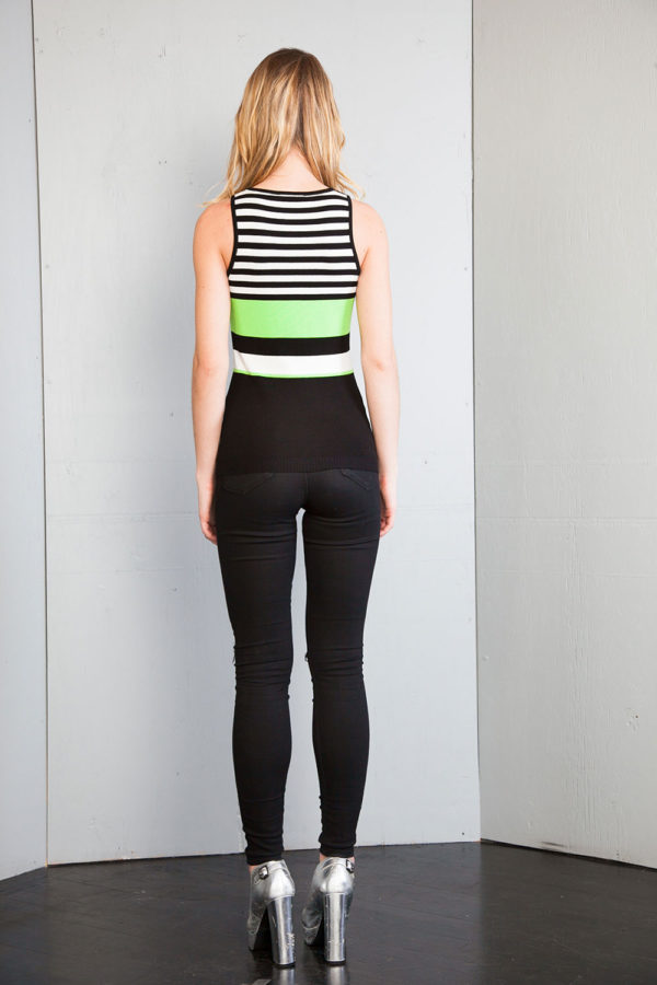 sleeveless lime knit top- back