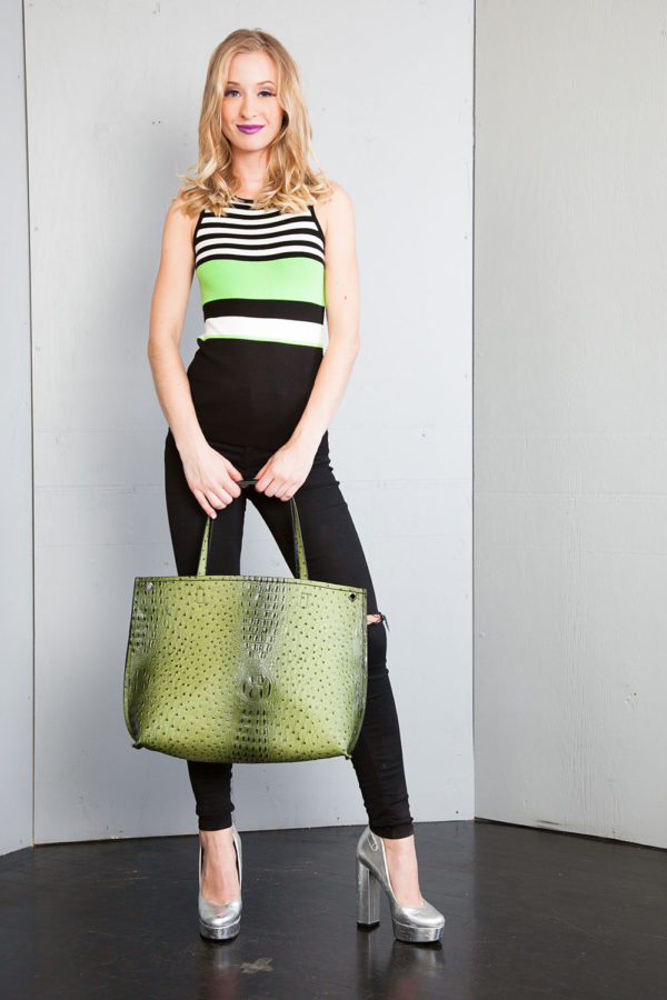 sleeveless lime knit top- front