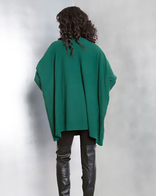 hunter green knit sweater- back