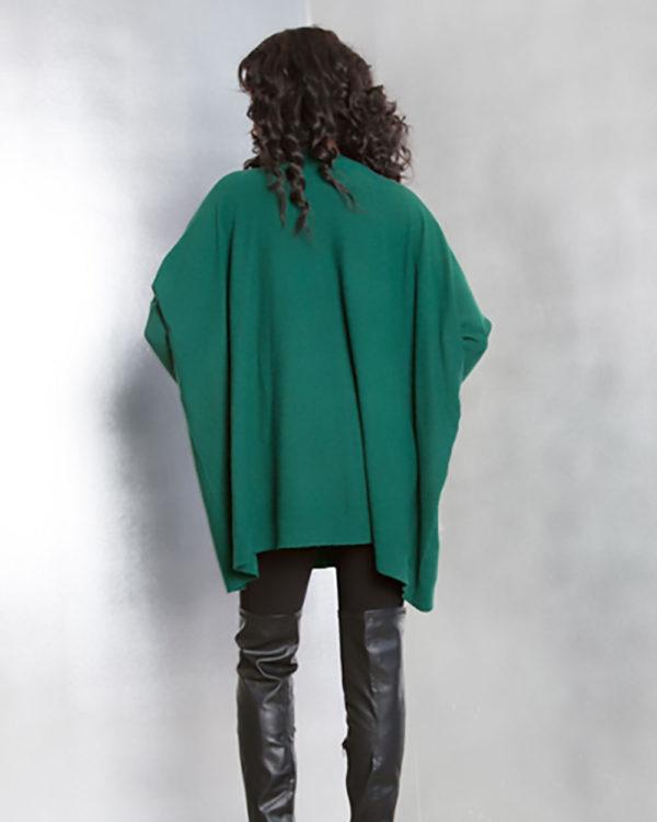 hunter green knit sweater- back
