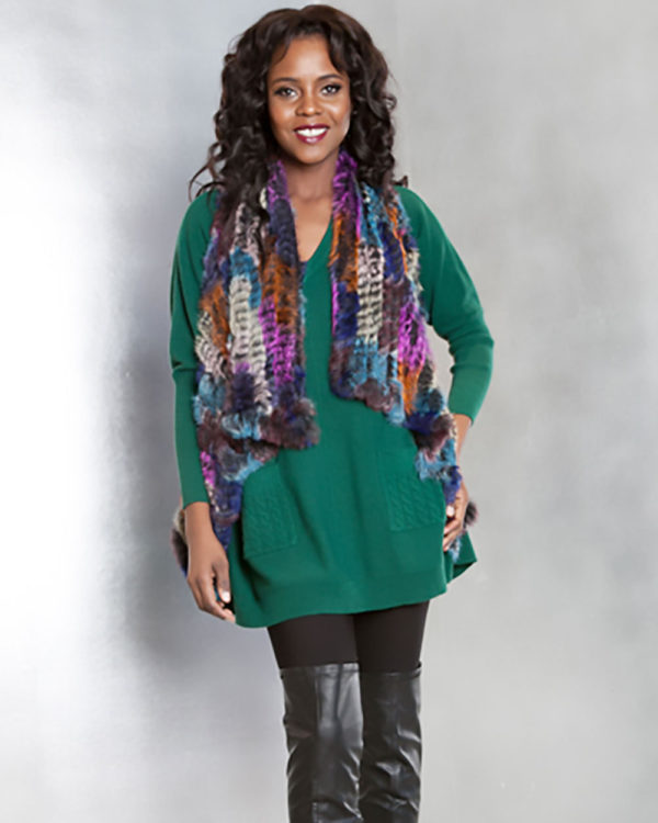 hunter green knit sweater- front