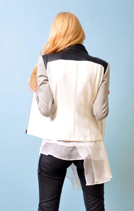 grey multimedia Moto jacket- back