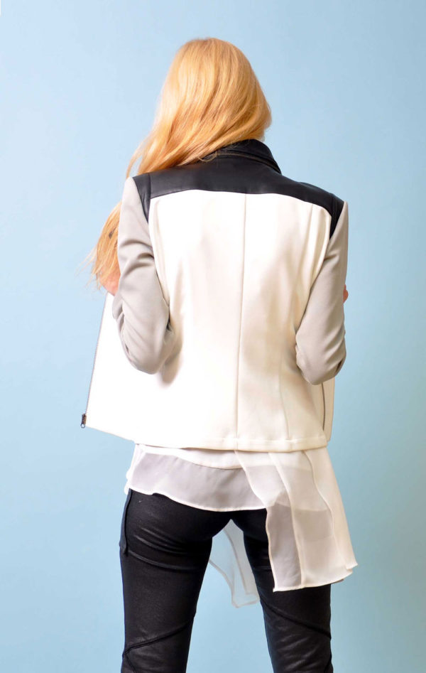 grey multimedia Moto jacket- back