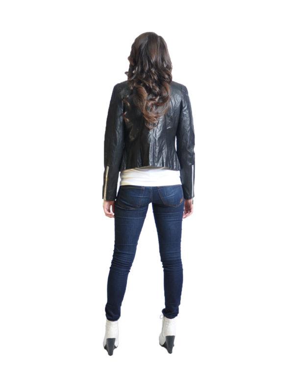 black v neck leather jacket- back