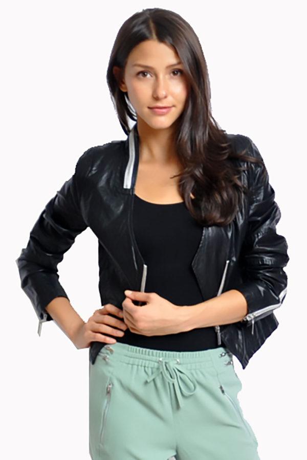 black v neck leather jacket- front