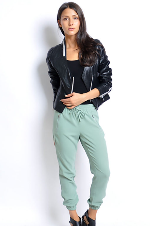 black v neck leather jacket- front full