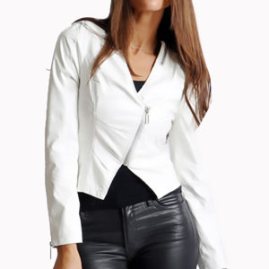 white v neck leather jacket- front