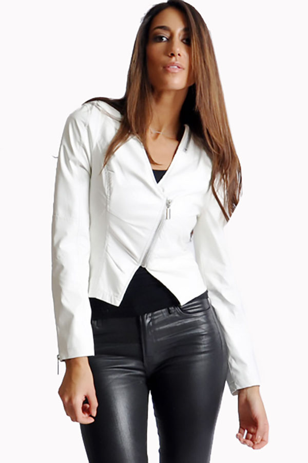 white v neck leather jacket- front