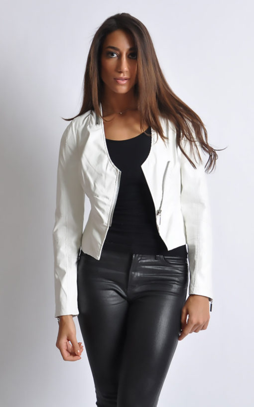 white v neck leather jacket- front open