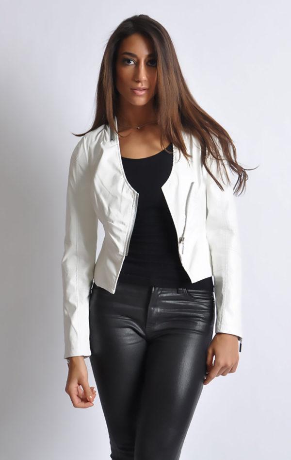 white v neck leather jacket- front open