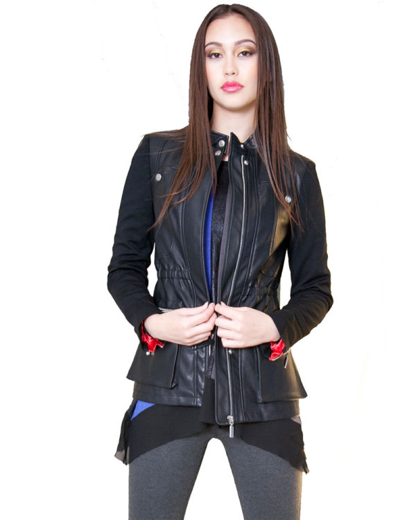 black multimedia faux leather jacket- front