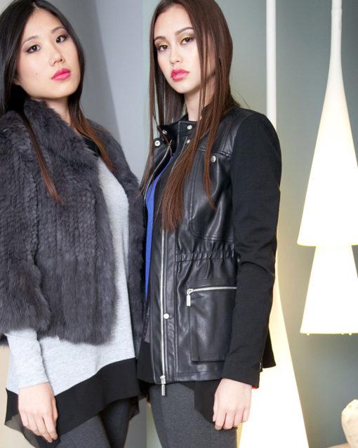 black multimedia faux leather jacket- side
