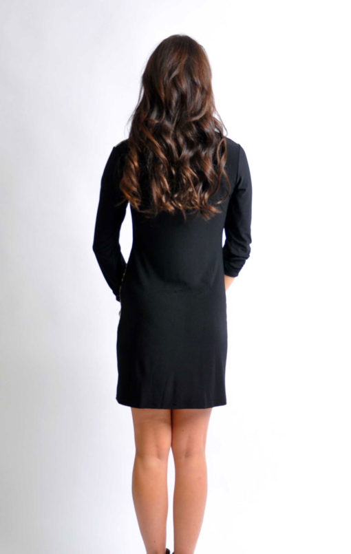 leopard print zip front tunic dress- back