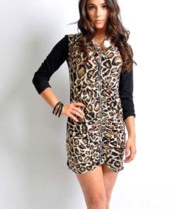 leopard zip front tunic dress- front