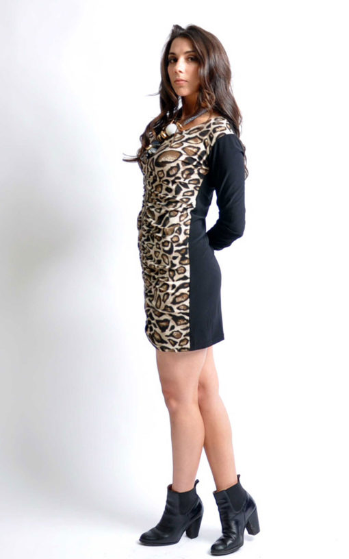 leopard zip front tunic dress- side