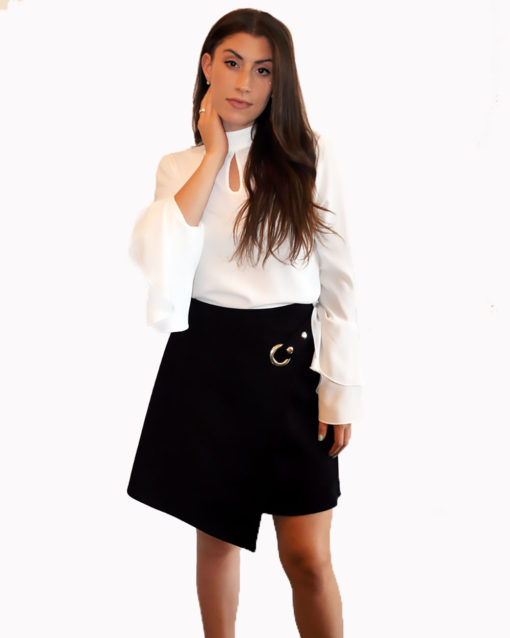 black ultra suede wrap skirt- front