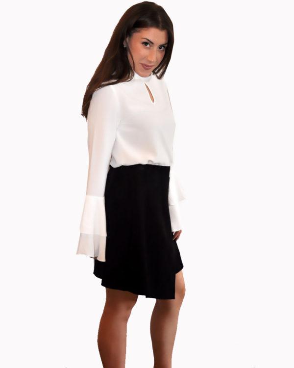 black ultra suede wrap skirt- side