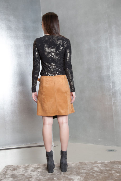 beige ultra suede wrap skirt- back