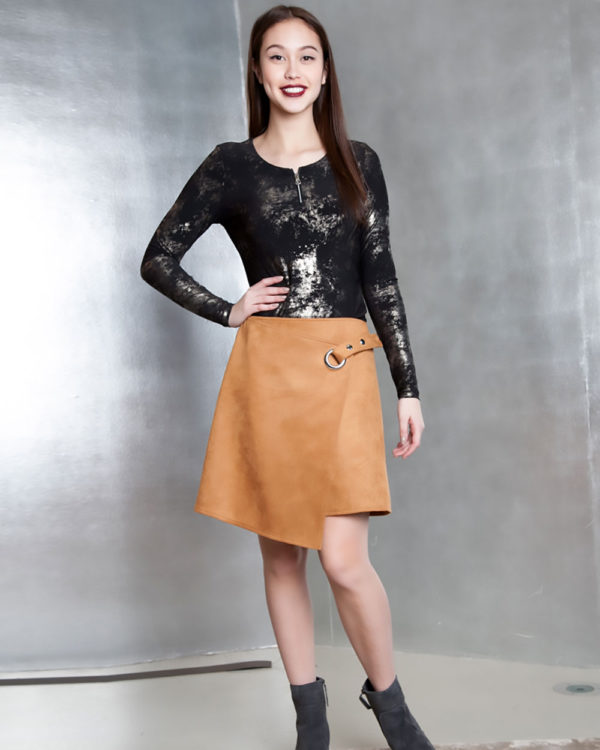 beige ultra suede wrap skirt- front