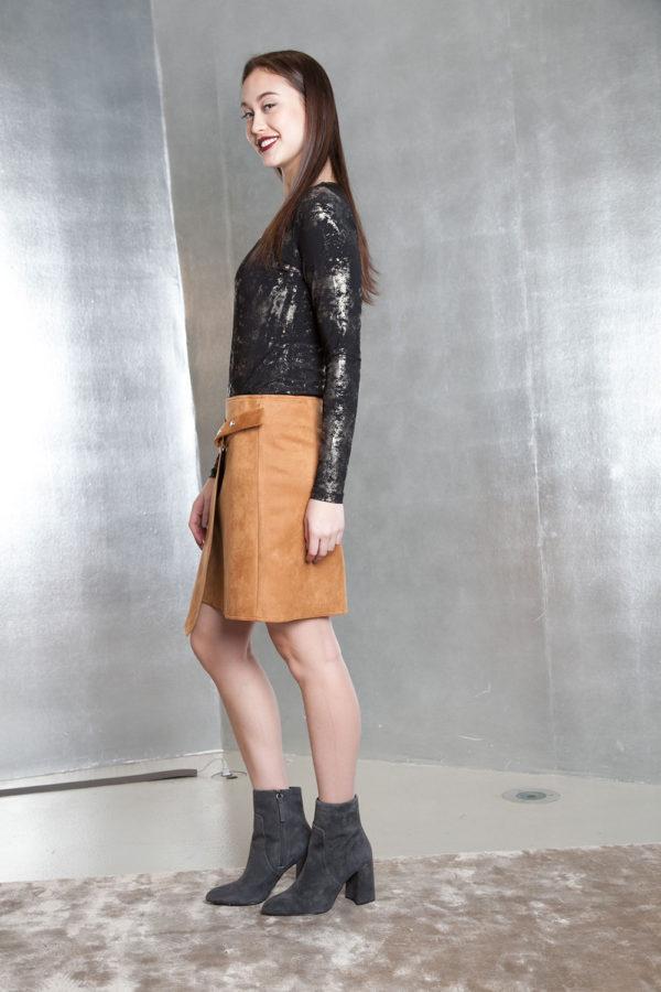 beige ultra suede wrap skirt- side