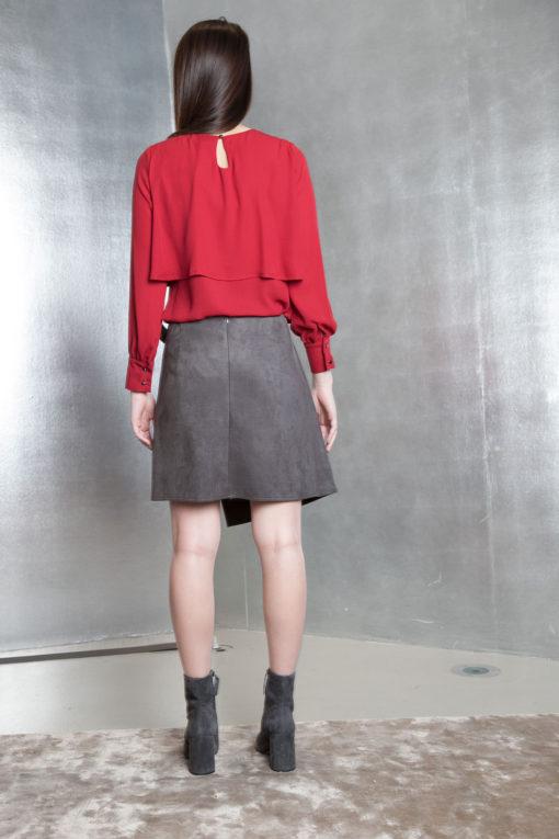 grey ultra suede wrap skirt- back