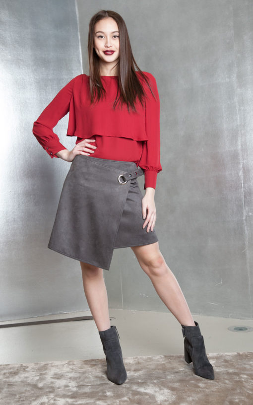 grey ultra suede wrap skirt- front