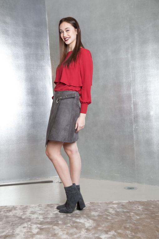 grey ultra suede wrap skirt- side