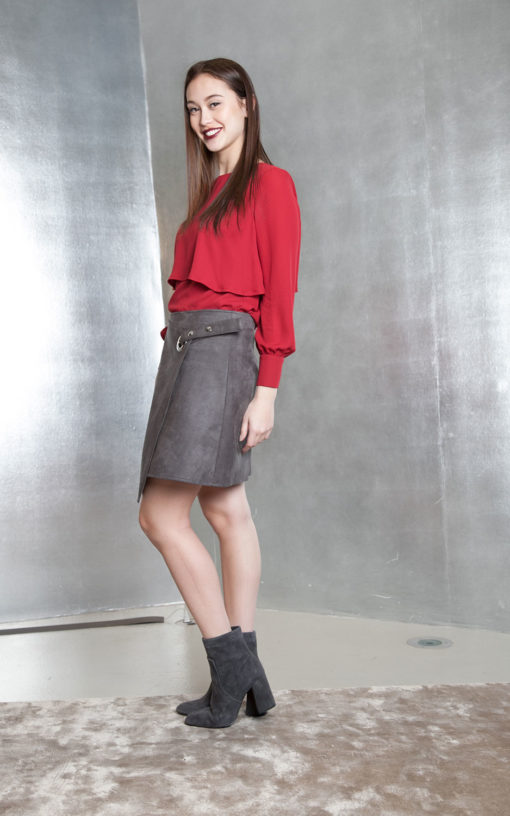 grey ultra suede wrap skirt- side